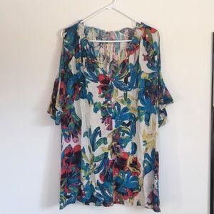 Rachel Roy Tropical Floral Print Cold Shoulder Top